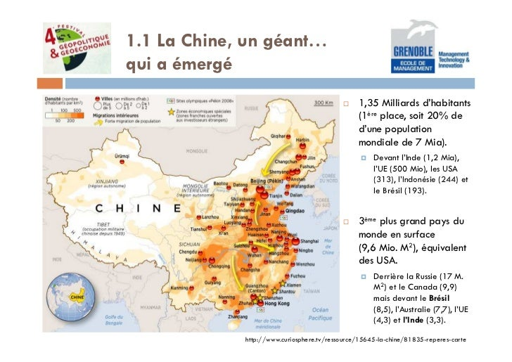 1.1 La Chine, un géant…qui a émergé                                                1,35 Milliards d'habitants             ...