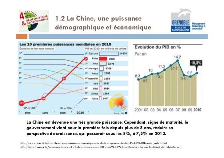 1.2 La Chine, une puissance                          démographique et économique    La Chine est devenue une très grande p...