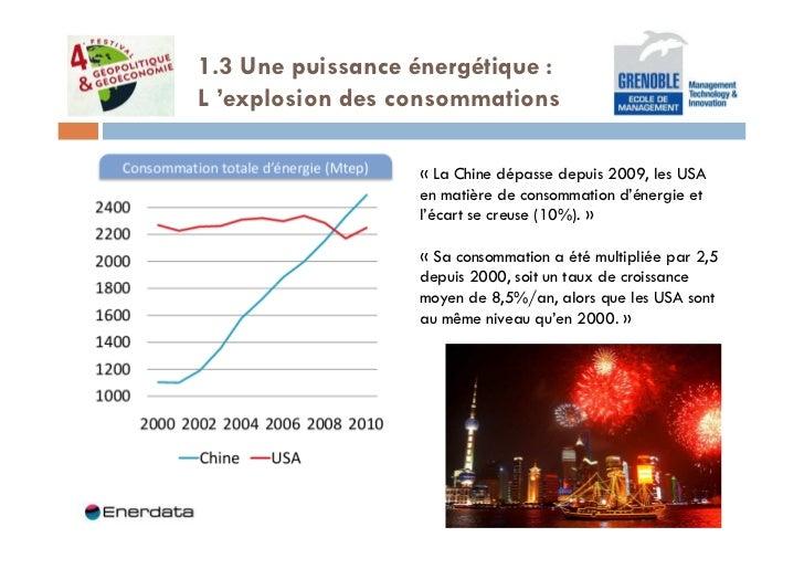 1.3 Une puissance énergétique :L 'explosion des consommations                  « La Chine dépasse depuis 2009, les USA    ...