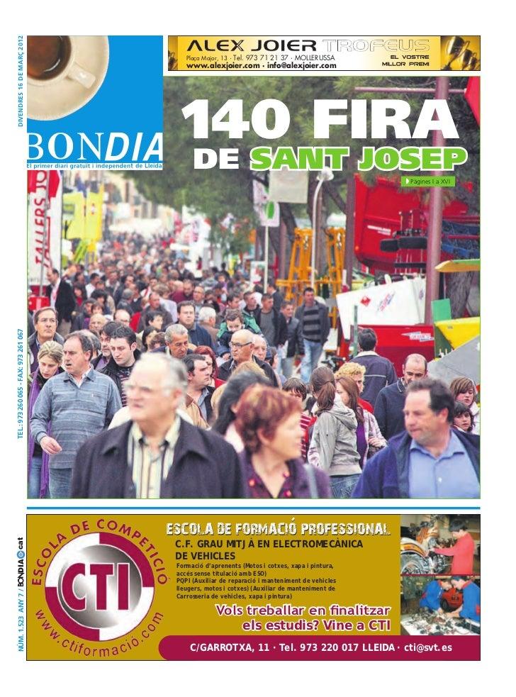 DIVENDRES 16 DE MARÇ 2012                                           Plaça Major, 13 · Tel. 973 71 21 37 · MOLLERUSSA      ...