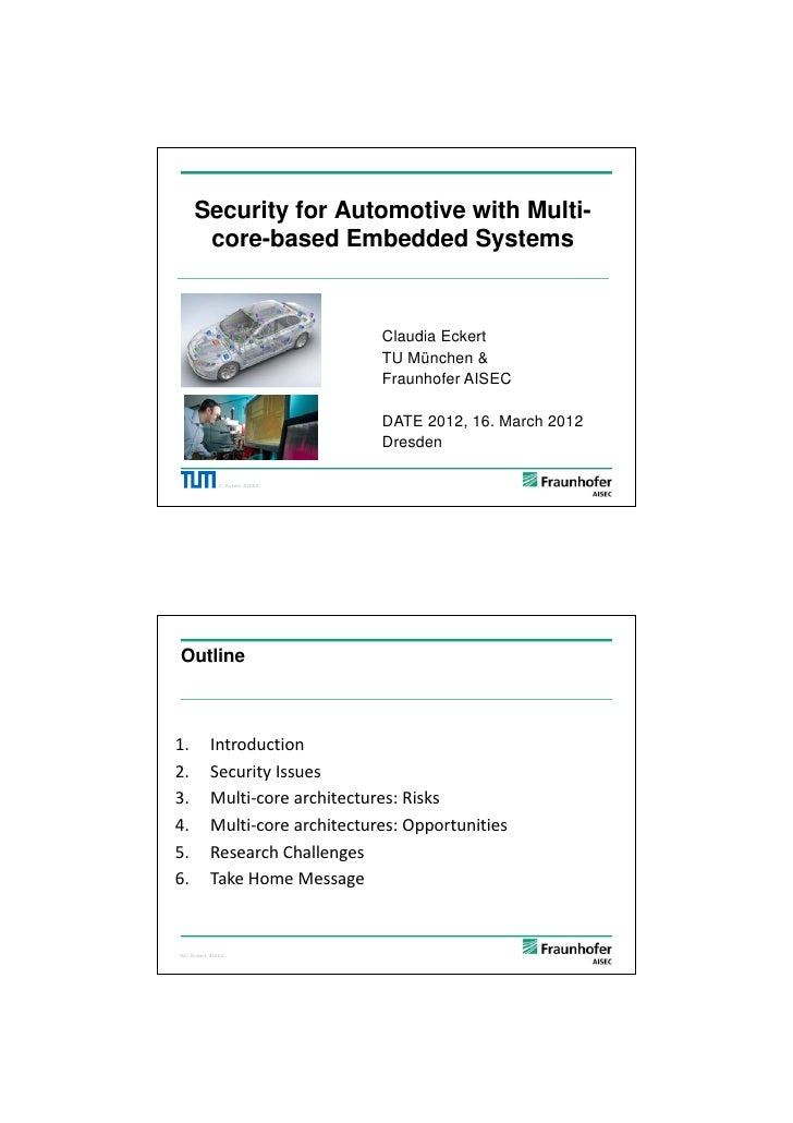 5/26/2012     Security for Automotive with Multi-      core-based Embedded Systems                                     Cla...