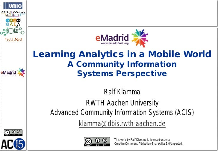 TeLLNet          Learning Analytics in a Mobile World                  A Community Information                    Systems ...