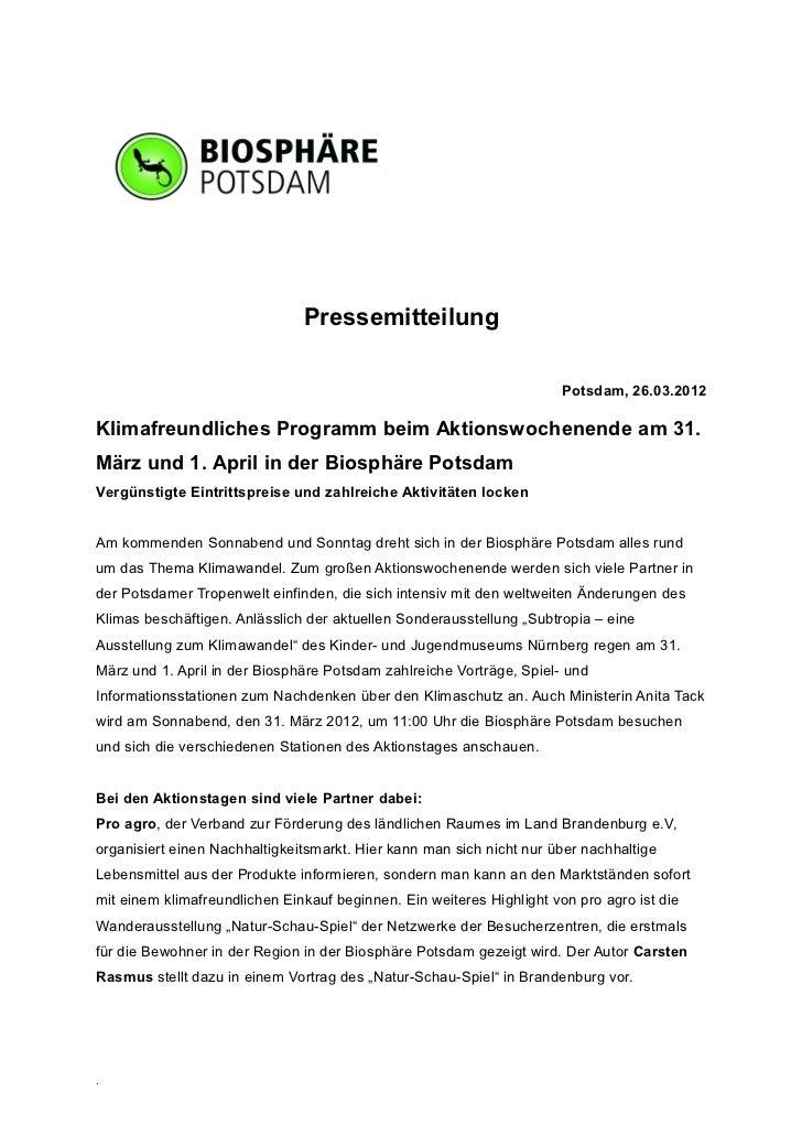 Pressemitteilung                                                                       Potsdam, 26.03.2012Klimafreundliche...