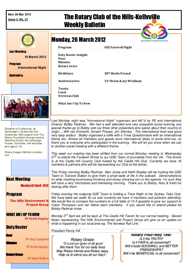 The Rotary Club of the Hills-Kellyville  Mon 26 Mar 2012  Issue 3. No. 31                                              Wee...