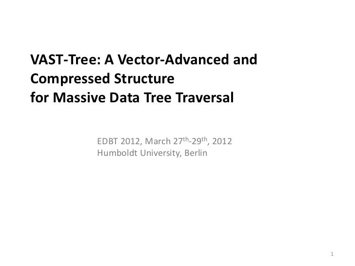 VAST-Tree: A Vector-Advanced andCompressed Structurefor Massive Data Tree Traversal         EDBT 2012, March 27th-29th, 20...
