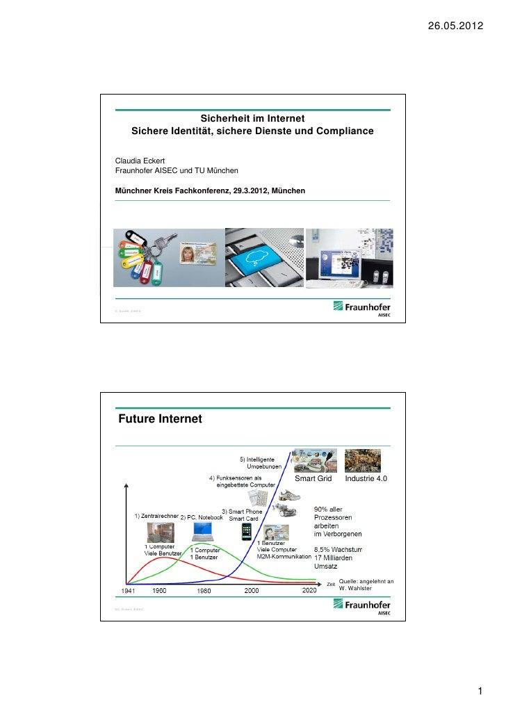 26.05.2012                         Sicherheit im Internet          Sichere Identität, sichere Dienste und ComplianceClaudi...
