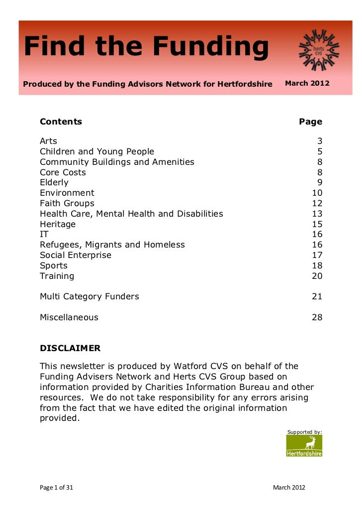 Find the FundingProduced by the Funding Advisors Network for Hertfordshire      March 2012   Contents                     ...