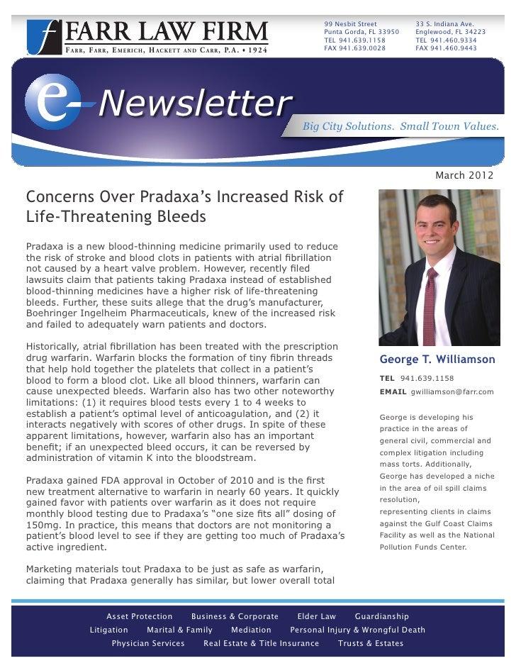concerns over pradaxa s increased risk of life threatening bleeds