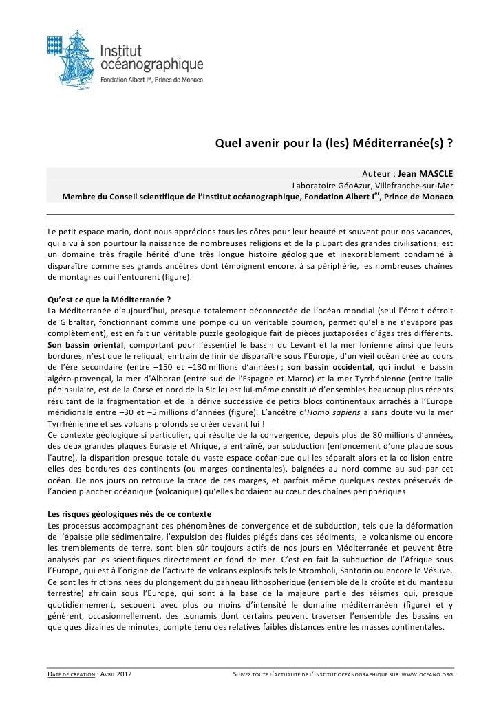 Quel avenir pour la (les) Méditerranée(s) ?                                                                               ...