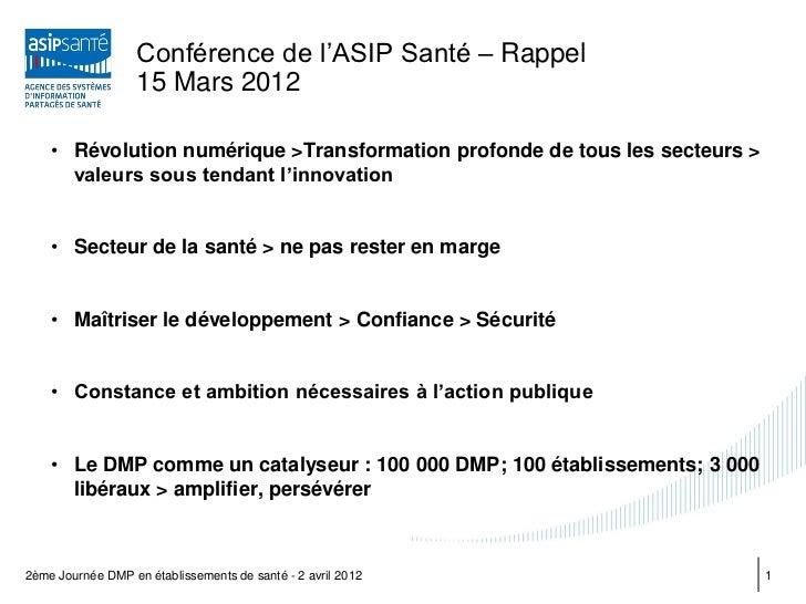 Conférence de l'ASIP Santé – Rappel                   15 Mars 2012    • Révolution numérique >Transformation profonde de t...