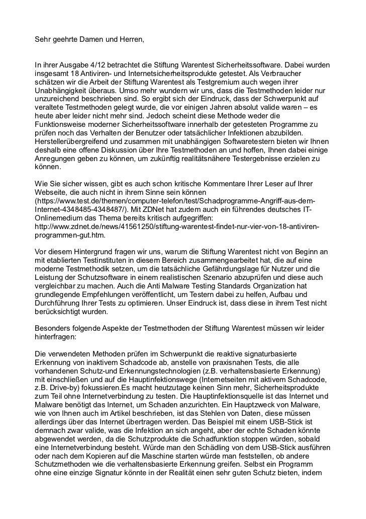 Sehr geehrte Damen und Herren,In ihrer Ausgabe 4/12 betrachtet die Stiftung Warentest Sicherheitssoftware. Dabei wurdenins...