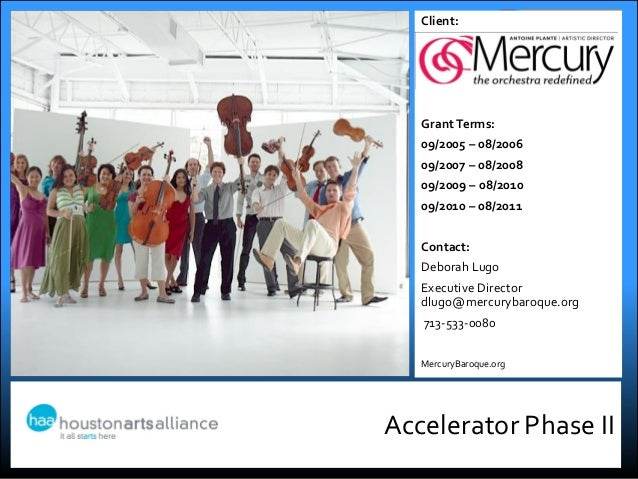 Accelerator Phase IIClient:Grant Terms:09/2005 – 08/200609/2007 – 08/200809/2009 – 08/201009/2010 – 08/2011Contact:Deborah...
