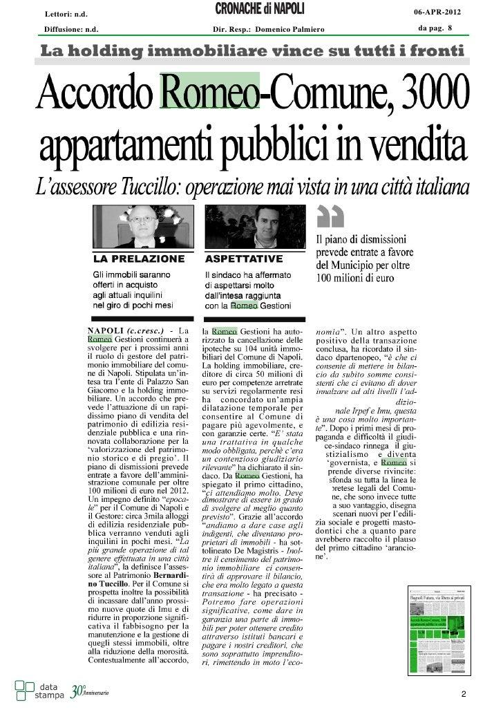 Lettori: n.d.                                      06-APR-2012Diffusione: n.d.   Dir. Resp.: Domenico Palmiero   da pag. 8...