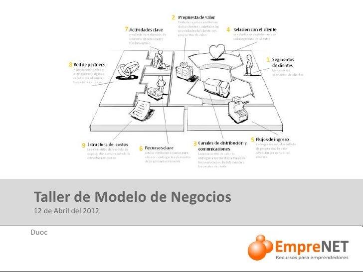 Taller de Modelo de Negocios 12 de Abril del 2012Duoc especialmente para:DiseñadoMovistar