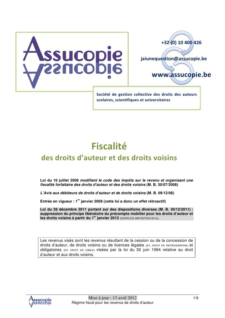 Fiscalité des droits d'auteur revenus 2011- Assucopie