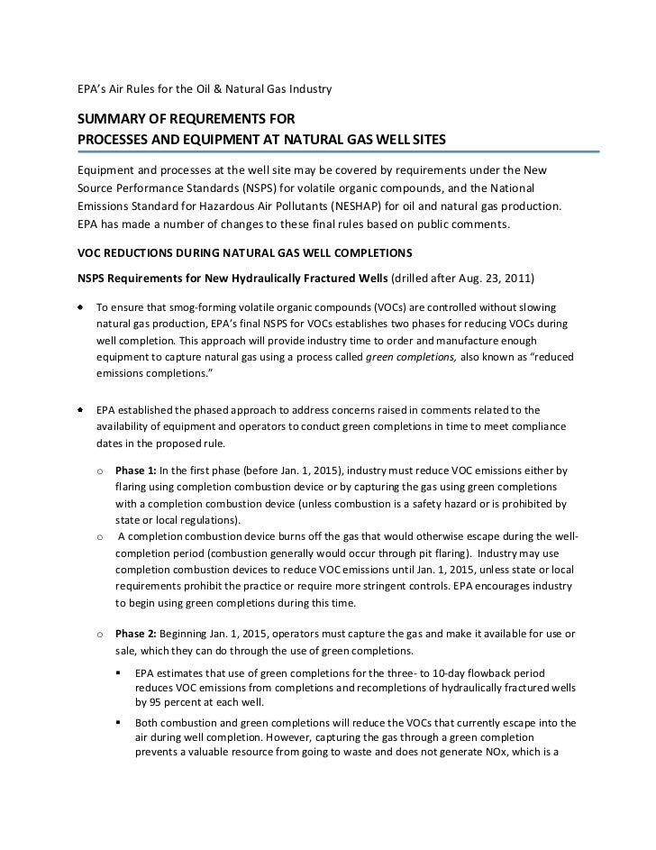 EPA's Air Rules for the Oil & Natural Gas IndustrySUMMARY OF REQUREMENTS FORPROCESSES AND EQUIPMENT AT NATURAL GAS WELL SI...