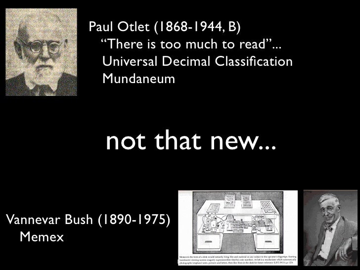 """Paul Otlet (1868-1944, B)              """"There is too much to read""""...              Universal Decimal Classification        ..."""