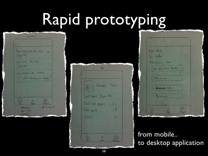 Rapid prototyping             from mobile..             to desktop application        38