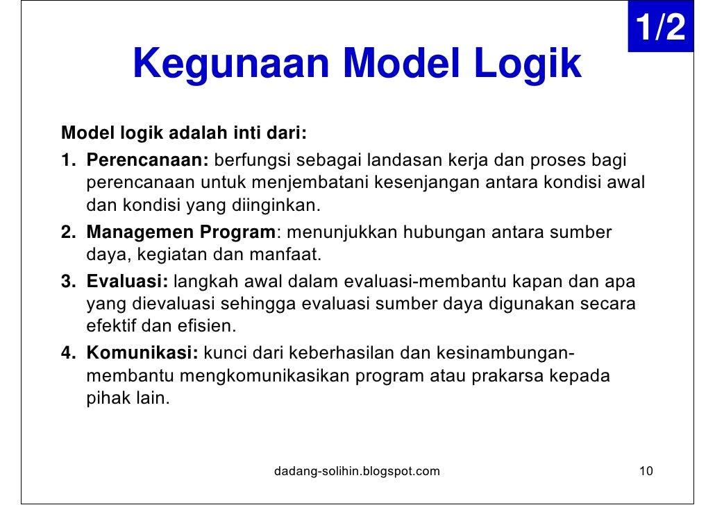 2/2Kegunaan Model Logik      Menjabarkan cita-cita; membantu dalam       perencanaan, evaluasi, pelaksanaan, dan       ko...