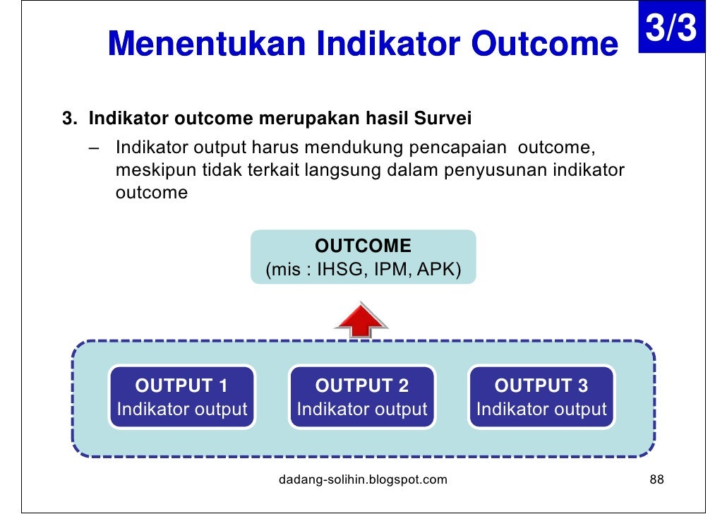 Indikator Kinerja IMPACT•   Indikator ini memperlihatkan pengaruh yang ditimbulkan dari manfaat yang    diperoleh dari has...