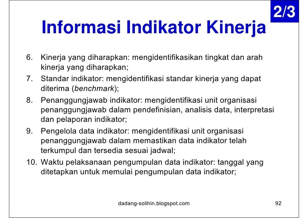 3/3    Informasi Indikator Kinerja11. Jadwal pelaporan: mengidentifikasi jadwal pelaporan indikator    (apakah dilaporkan ...