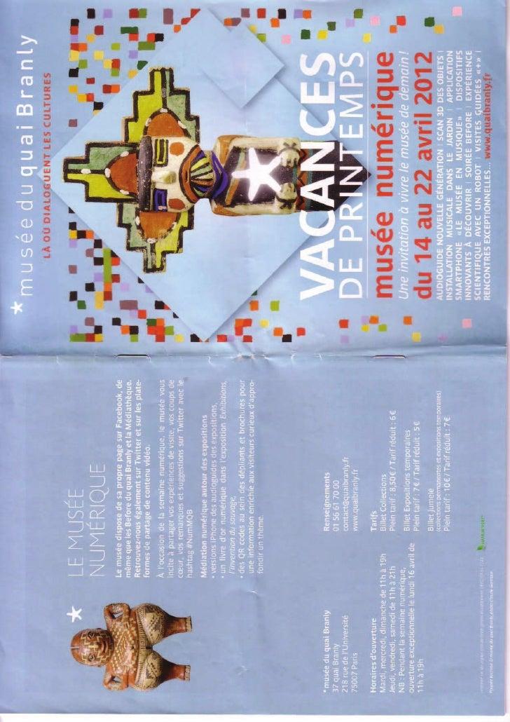 Archive : programme Musée numérique Quai Branly Paris Avril 2012