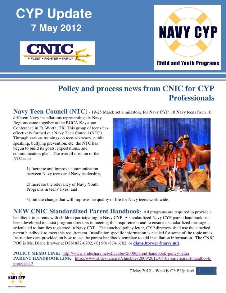 CYP Update          7 May 2012                         Policy and process news from CNIC for CYP                          ...
