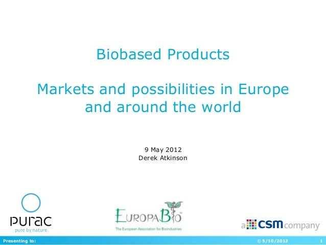 Biobased Products                 Markets and possibilities in Europe                       and around the world          ...