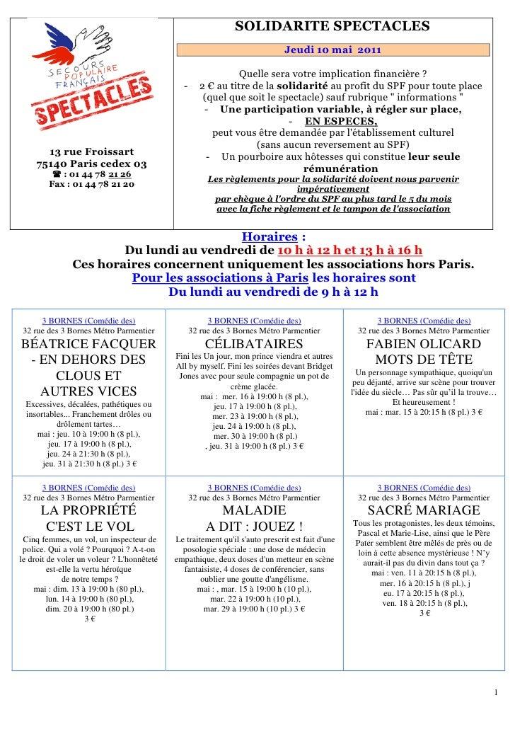 151B   SOLIDARITE SPECTACLES                                                                                Jeudi 10 mai 2...