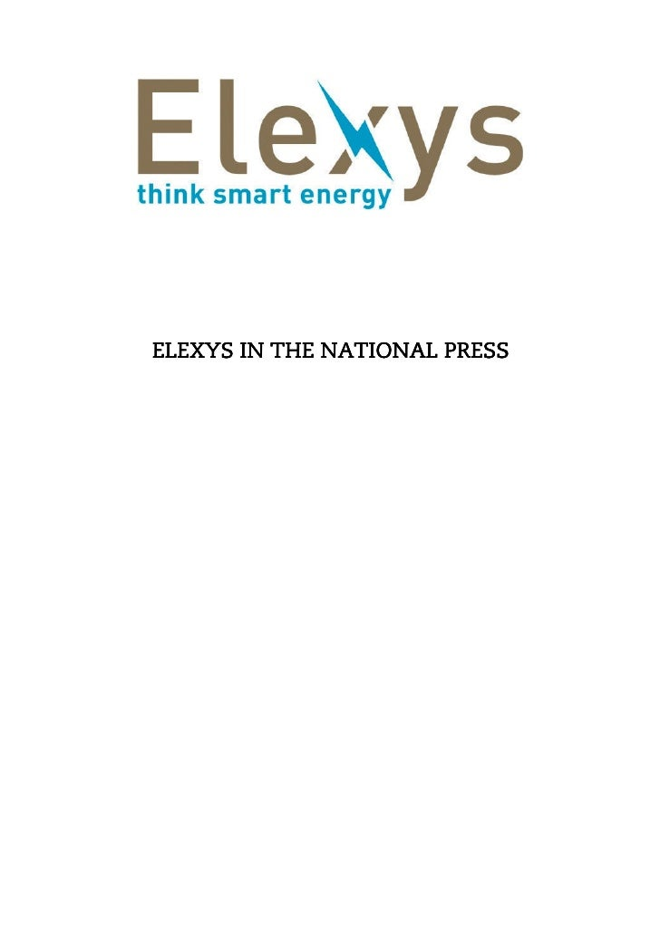 ELEXYS IN THE NATIONAL PRESS