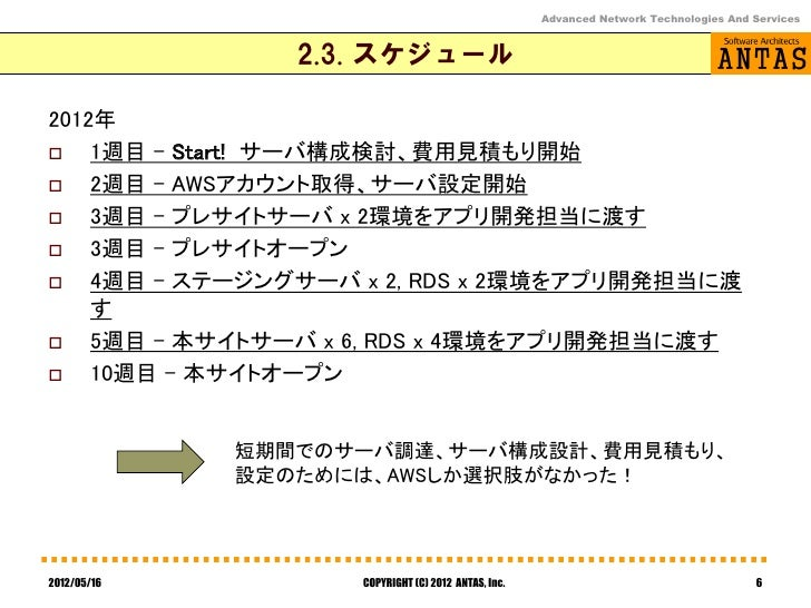 Advanced Network Technologies And Services                2.3. スケジュール2012年   1週目 – Start! サーバ構成検討、費用見積もり開始   2週目 - AWSアカ...