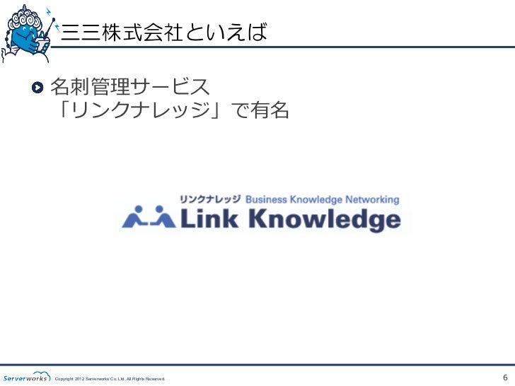 三三株式会社といえば!  名刺刺管理理サービス    「リンクナレッジ」で有名 Copyright 2012 Serverworks Co, Ltd. All Rights Reserved.   6