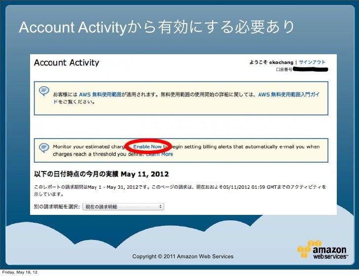 Account Activityから有効にする必要あり                     Copyright © 2011 Amazon Web ServicesFriday, May 18, 12