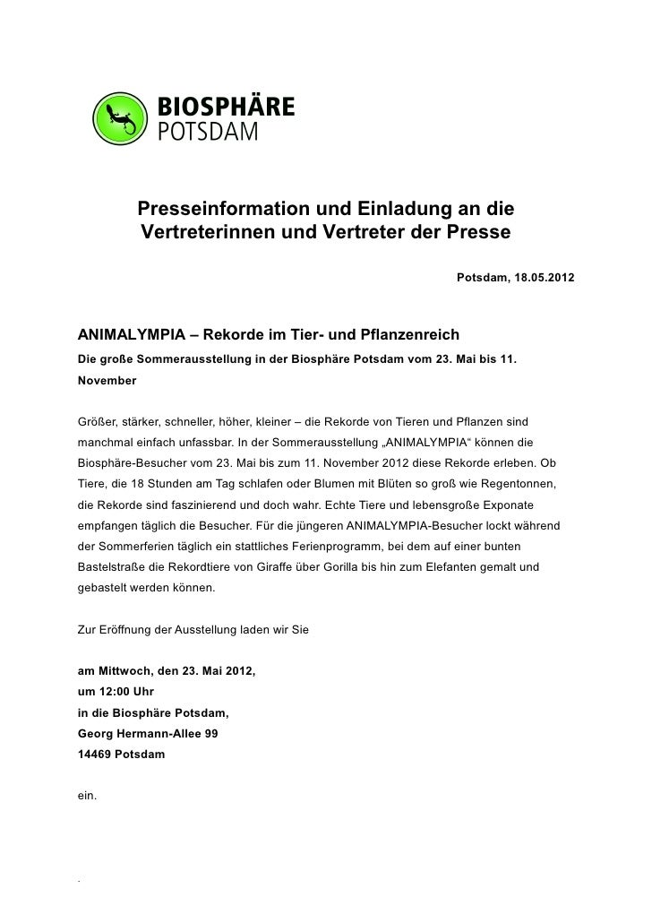 Presseinformation und Einladung an die           Vertreterinnen und Vertreter der Presse                                  ...