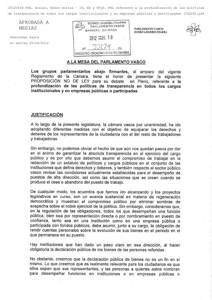 20120518 PSE, Aralar, Ezker Anitza - IU, EA y UPyD. PNL referente a la profundización de las políticasde transparencia en ...