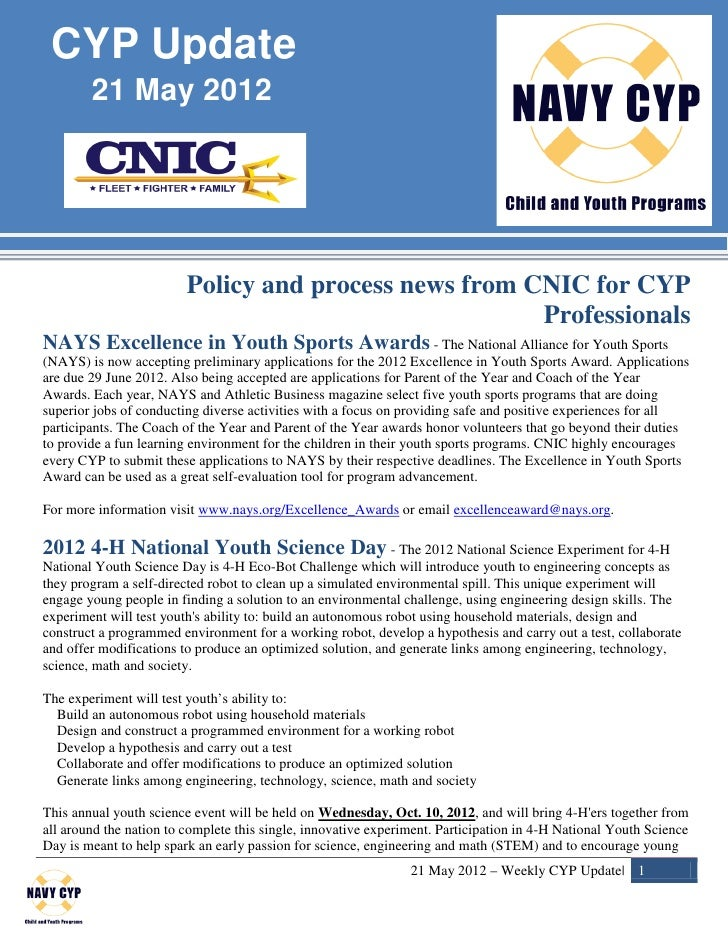 CYP Update        21 May 2012                         Policy and process news from CNIC for CYP                           ...