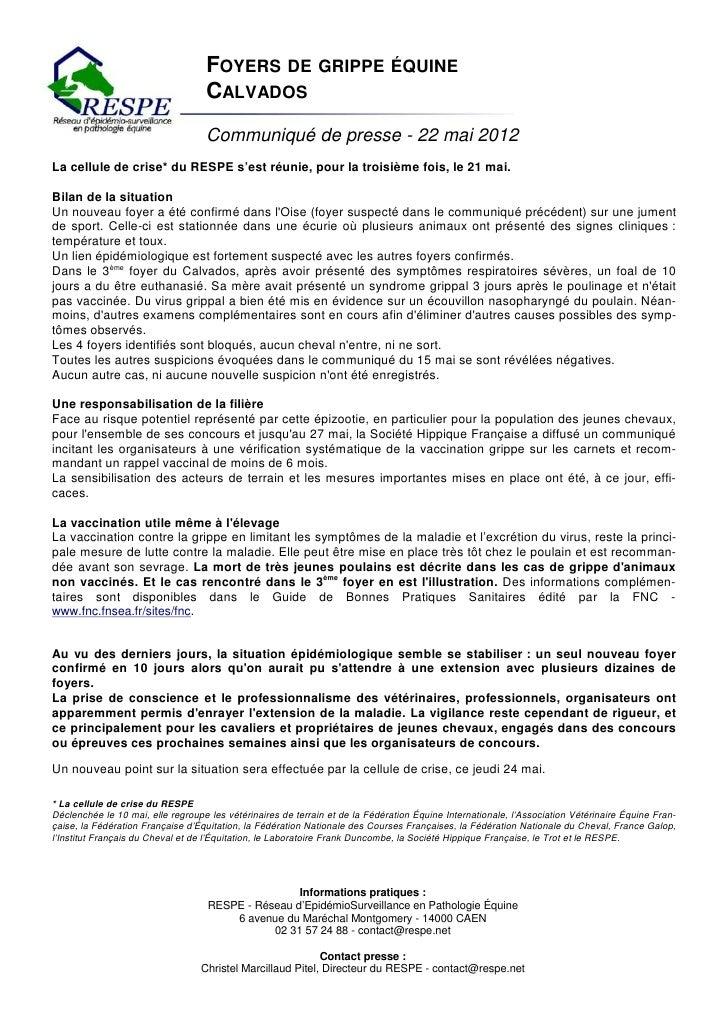 FOYERS DE GRIPPE ÉQUINE                                   CALVADOS                                   Communiqué de presse ...