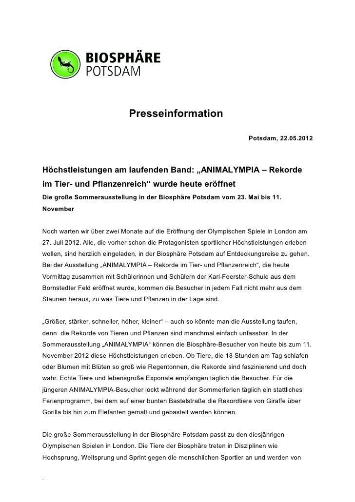 Presseinformation                                                                        Potsdam, 22.05.2012Höchstleistung...