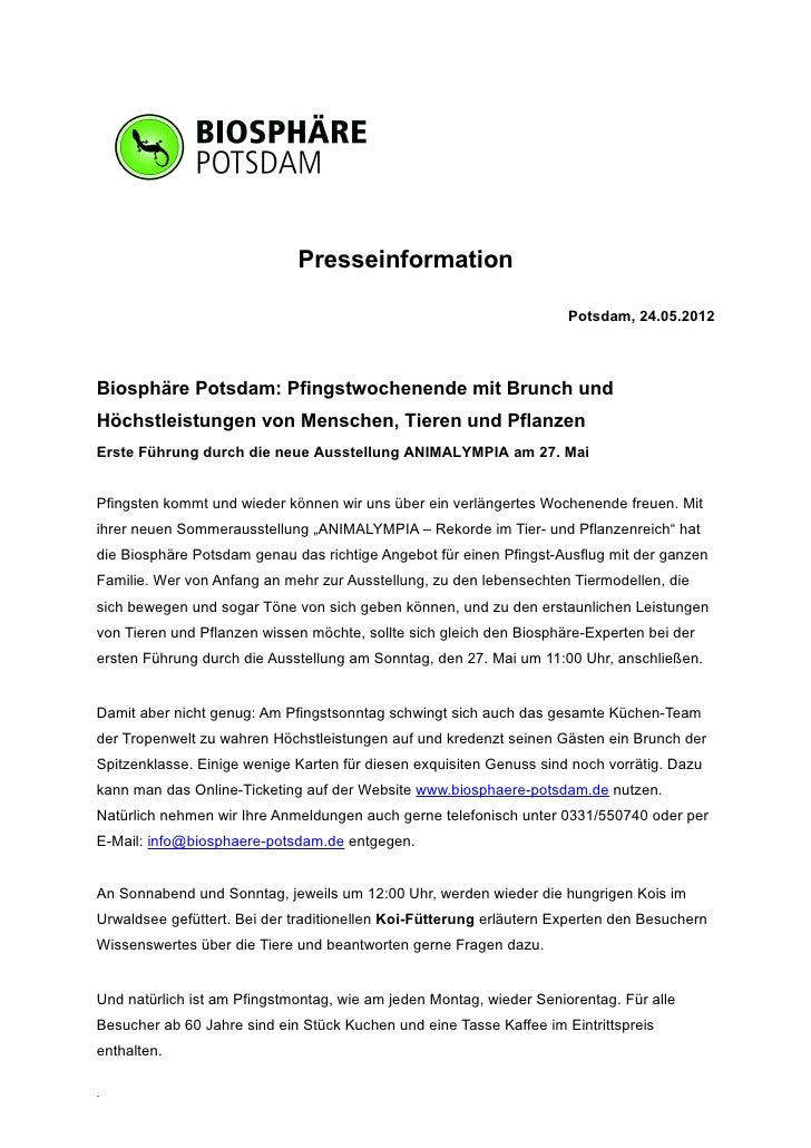 Presseinformation                                                                     Potsdam, 24.05.2012Biosphäre Potsdam...