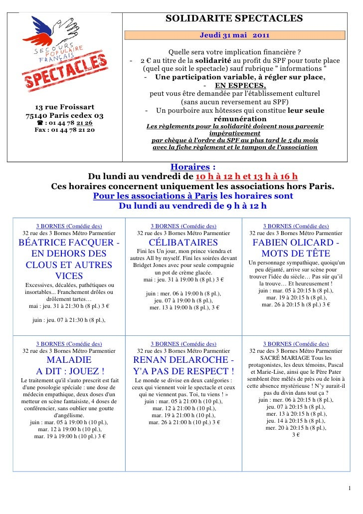 151B   SOLIDARITE SPECTACLES                                                                               Jeudi 31 mai 20...