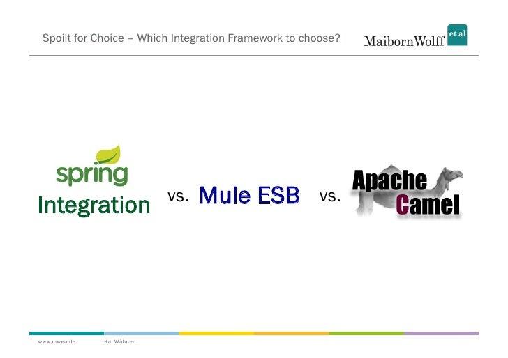Spoilt for Choice – Which Integration Framework to choose?Integration                vs.   Mule ESB             vs.www.mwe...