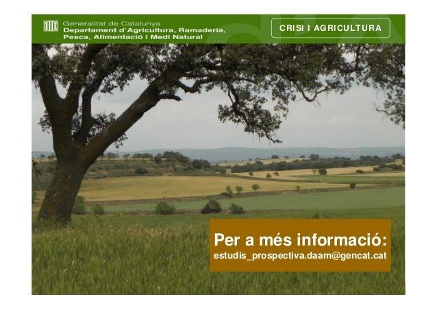 CRISI I AGRICULTURAPer a més informació:estudis_prospectiva.daam@gencat.cat                                      11