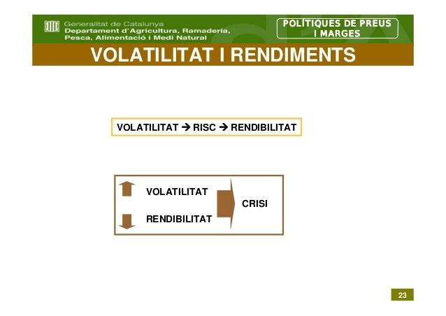 POLÍTIQUES DE PREUS                                       I MARGESVOLATILITAT I RENDIMENTS  VOLATILITAT   RISC   RENDIBILI...