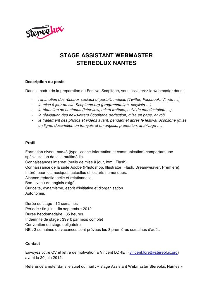 Stage Assistant Webmaster Stereolux Nantes