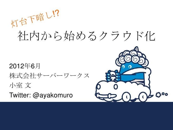 社内から始めるクラウド化2012年6月株式会社サーバーワークス小室 文Twitter: @ayakomuro