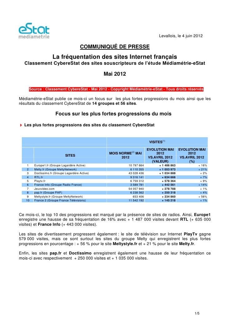 Levallois, le 4 juin 2012                                        COMMUNIQUÉ DE PRESSE                    La fréquentation ...