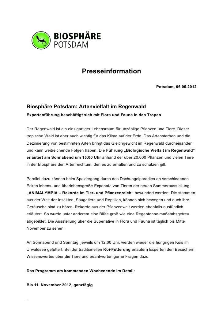 Presseinformation                                                                        Potsdam, 06.06.2012Biosphäre Pots...