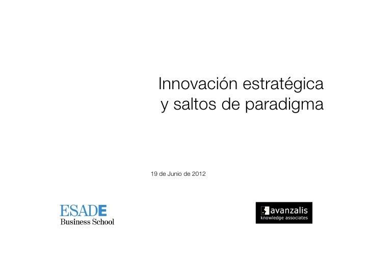 Innovación estratégica !    y saltos de paradigma 19 de Junio de 2012