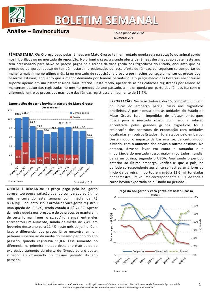 BOLETIM SEMANALAnálise – Bovinocultura                                                                                    ...