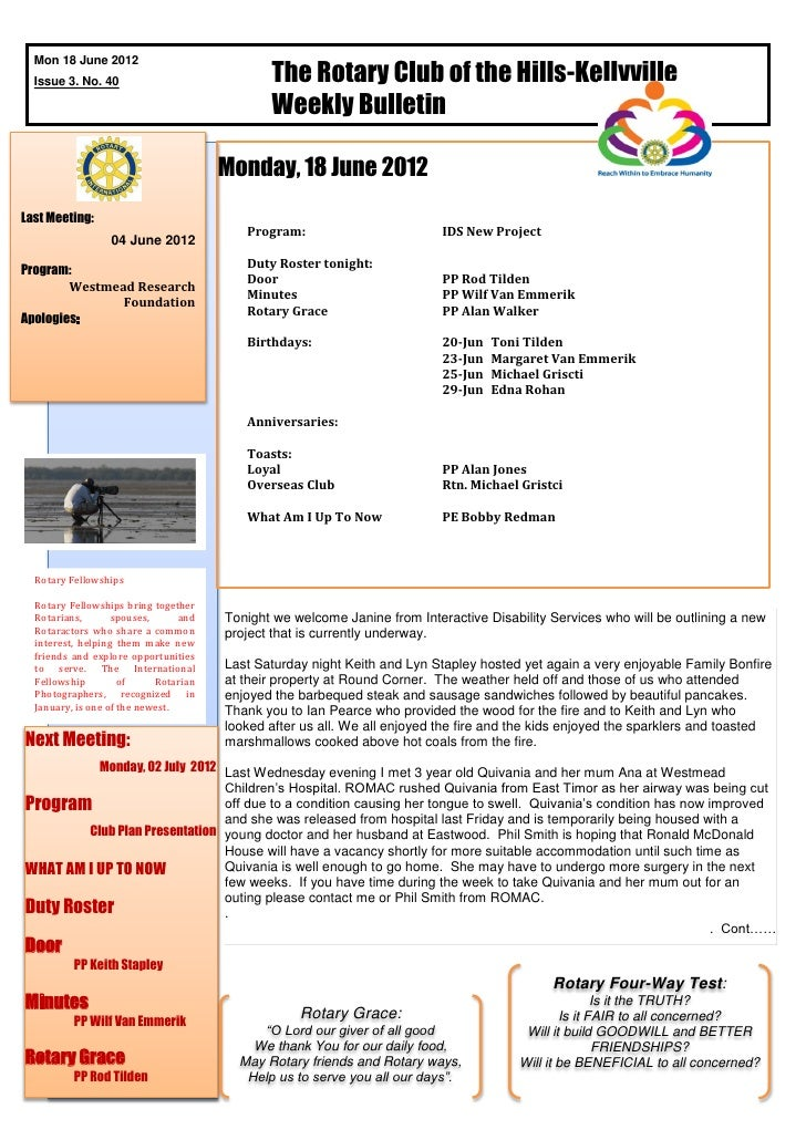 The Rotary Club of the Hills-Kellyville  Mon 18 June 2012  Issue 3. No. 40                                              We...